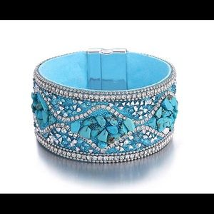 Jewelry - Turquoise And Rhinestone Magnetic Cuff Bracelet